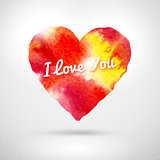 Watercolor vector heart for valentines day