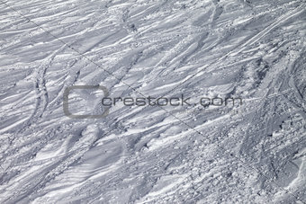 Background of ski slope with trace from ski and snowboards