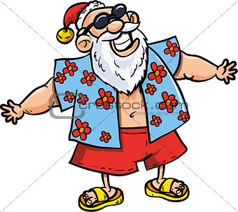 Cartoon Santa on vacation
