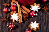 fresh tasty christmas cinnamon cookies and sticks decoration
