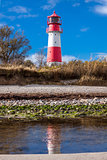 landscape baltic sea dunes lighthouse in red and white