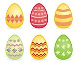 Colorful vector easter eggs isolated on white background.