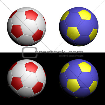 Football championship soccer ball in  white, red, yellow and blue isolated on white and black background.