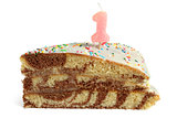 Slice of birthday cake with number one candle