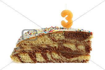 Slice of birthday cake with number three candle