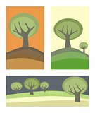 Vector hand drawn landscapes banners with green trees.