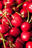 sweet red cherry closeup macro on market outdoor