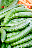fresh green cucumber on market macro