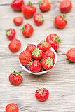 fresh tasty sweet strawberries macro closeup garden outdoor