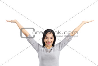 Arab woman holding an advertising raising arms