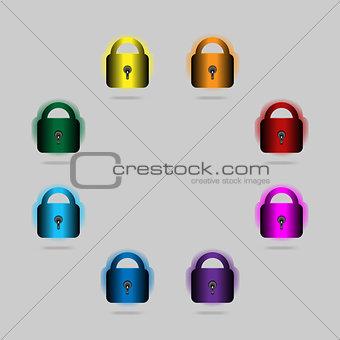 padlocks painted in rainbow colors