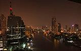 Chao Phraya river in Bangkok at night