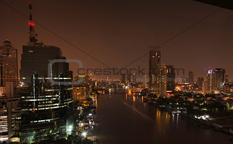 Chao Phraya river in Bangkok at night