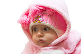baby girl in pink warm clothes