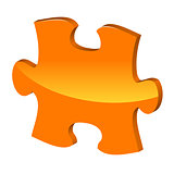 Orange puzzle 3d pie vector icon