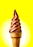 Chocolate flavour ice cream cone