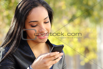 Portrait of a beautiful woman typing on the smart phone in a park