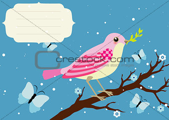 Background with blooming tree branch and bird