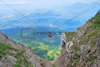 Cableway in Swiss Alps