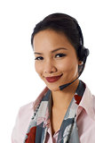 Asian girl working as customer service representative