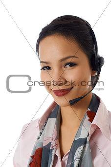 Asian girl working as customer service representative