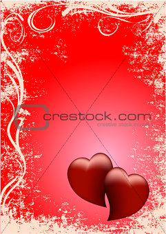 card two red hearts