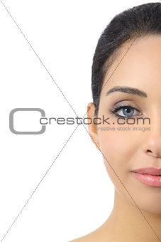 Facial half portrait of a woman smooth face and blue eyes