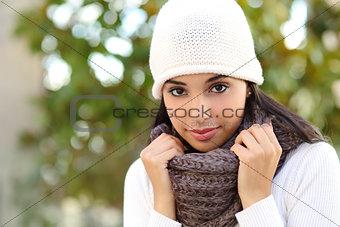 Facial portrait of a beautiful arab woman outdoor
