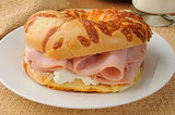 Ham sandwich on an onion bagel