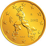 vector Italian money gold euro coin twenty cents