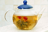 Flower tea in glass pot
