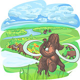 vector mammoths in a landscape with a river