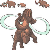 vector herd of mammoths