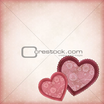 Beautiful hearts on a vintage background