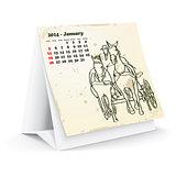 January 2014 desk horse calendar
