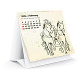 February 2014 desk horse calendar