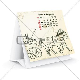 August 2014 desk horse calendar