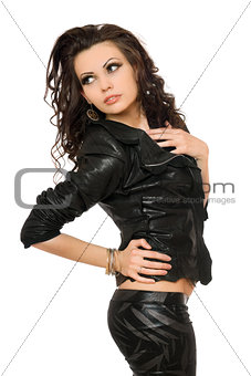 Portrait of beautiful young woman in black clothes. Isolated