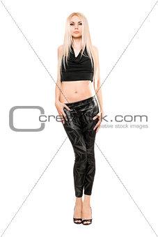 Beautiful young blonde in black leggings