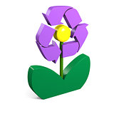 Recycling symbol on flower