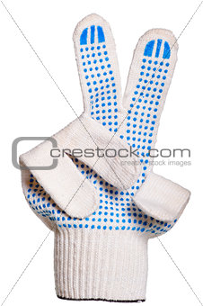 cotton gloves, non-slip shows a victory sign