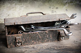 Old Tools Box with wrench