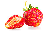 whole strawberry and half on white background