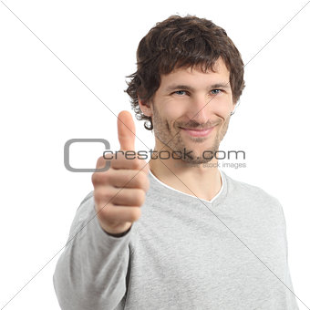 Attractive adult man agree with thumb up