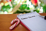 Santa's note with candy cane