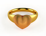 Gold Heart and wedding rings