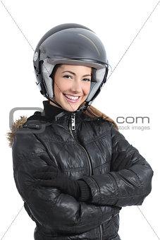 Beautiful urban biker woman with a helmet