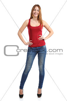 Front view of a beautiful standing woman model posing