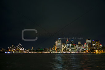 sydney harbour by night in australia
