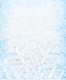 Christmas snow background, snowflake border